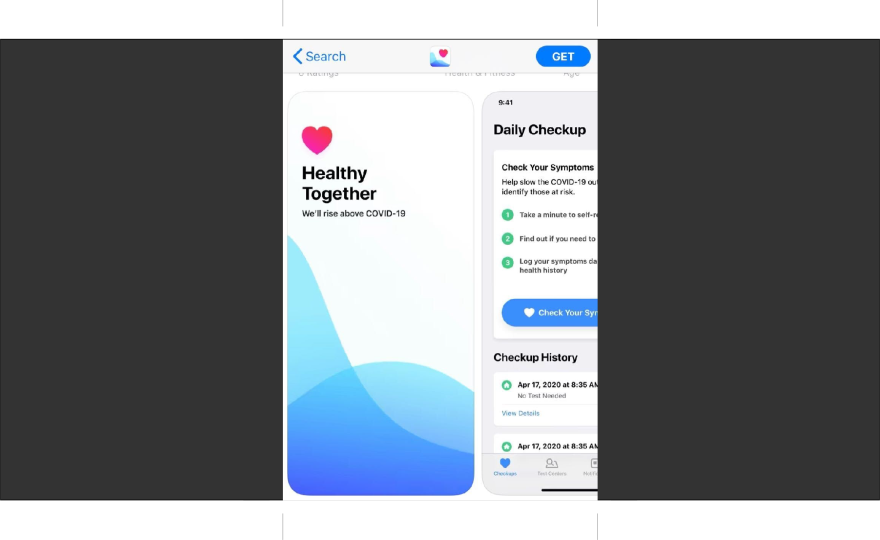 Photo of the how the healthy together app appears on an iphone