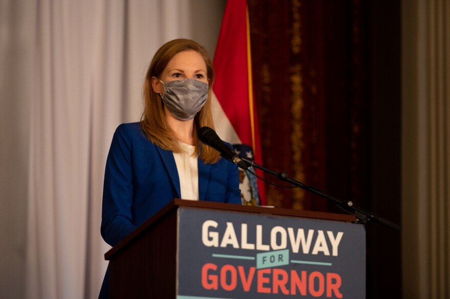 Nicole Galloway gives a gubernatorial concession speech late Tuesday, Nov. 3, 2020 in the Tiger Hotel in Columbia.