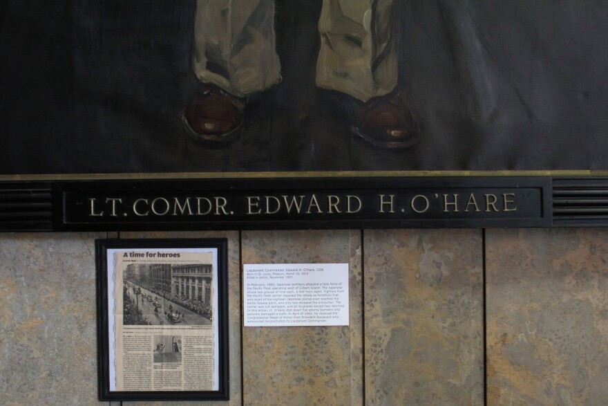 A painting of Lt. Comdr. Edward O'Hare hangs in the east gallery of Soldiers Memorial Museum