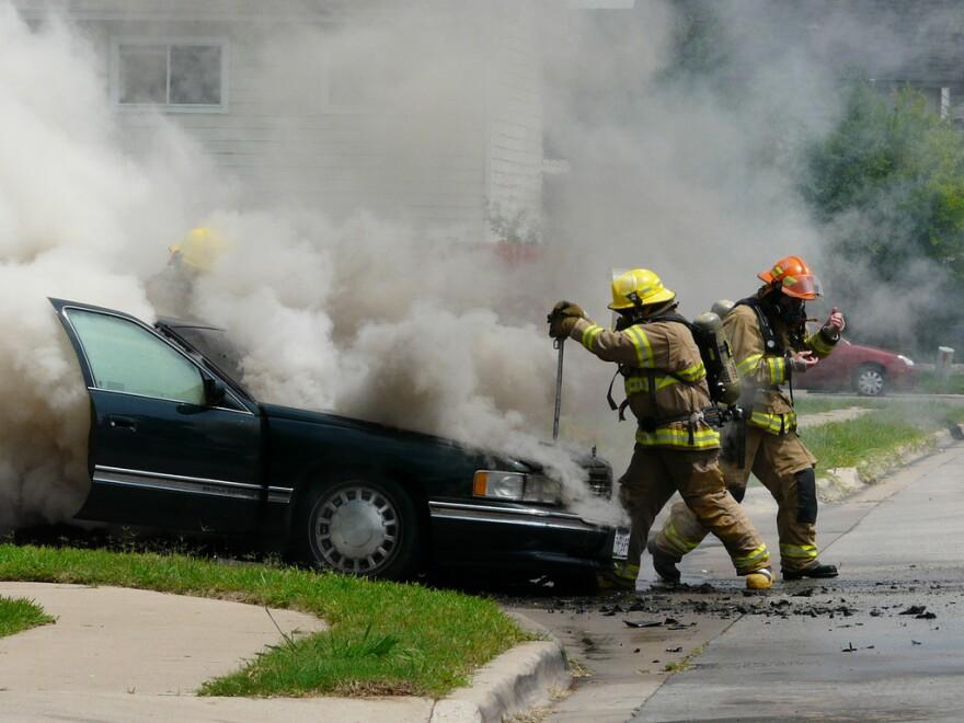 AFD battling car fire