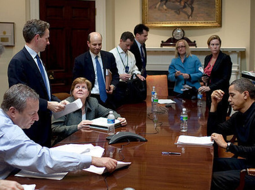 President Obama meets with advisers at an economic meeting in the Roosevelt  Room of the White House, March 15, 2009. Participants include National Economic Council Director Larry Summers, Treasury Secretary Timothy Geithner, Council of Economic Advisers Chairwoman  Christina Romer, senior adviser David Axelrod, Chief of Staff  Rahm Emanuel and adviser Gene Sperling.