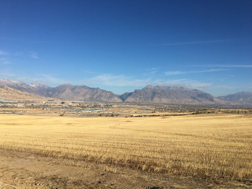 Grassland stretches out to meet suburban sprawl at the foothills of the Wasatch.