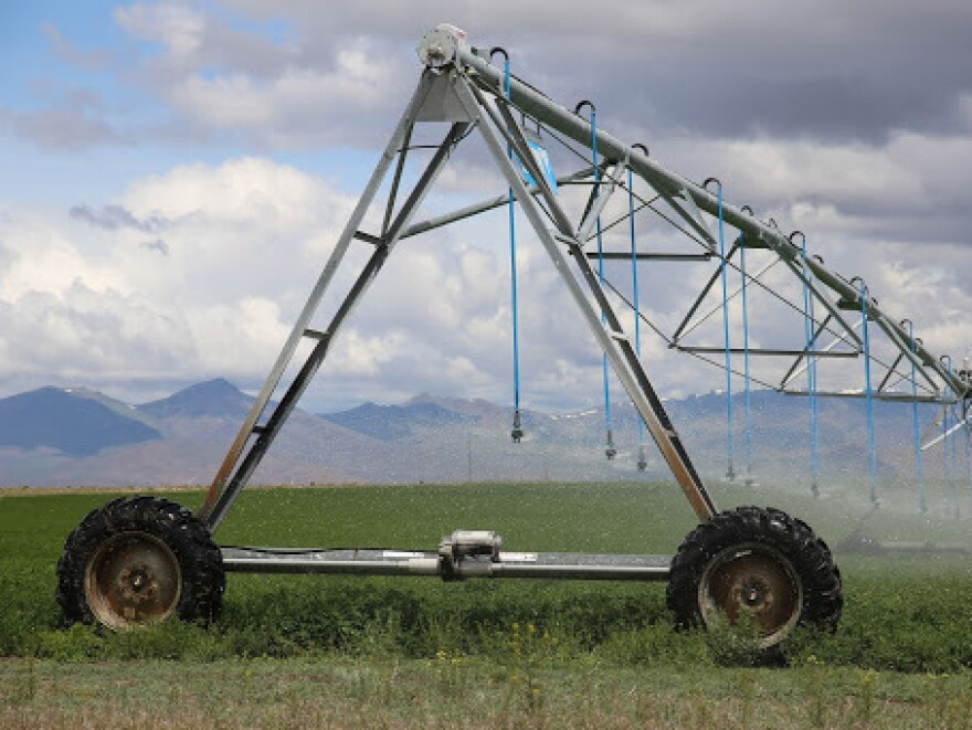 Irrigation pivots spray a field in Harney County, Ore., where scientists warn that the groundwater could take thousands of years to recover from pumping to support agriculture.