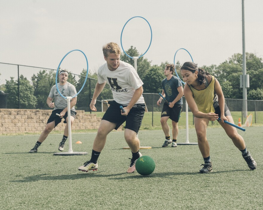 The Washington Admirals quidditch team practices at Thomas Jefferson Community and Fitness Center in Arlington, Va. The real-life sport was inspired by the magical one described in J.K. Rowling's Harry Potter books, in which players fly about on broomsticks.