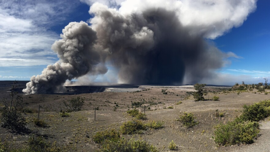 Activity at Halema'uma'u Crater has increased to include the nearly continuous emission of ash with intermittent stronger pulses at Hawaii Volcanoes National Park. This photo was made at around 9 a.m. local time Tuesday.