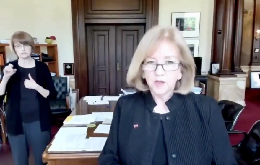 Mayor Lyda Krewson addresses the public during a Facebook Live video on June 26, 2020.