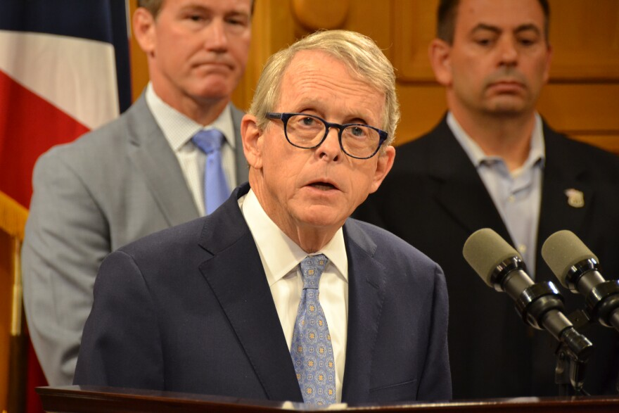 Gov. Mike DeWine speaks at a Statehouse press conference in September.