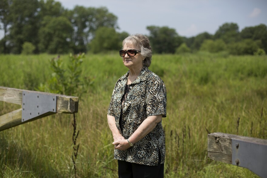 Marilyn Leistner stands near the ground where her home used to be in Times Beach. It  was part of the federal Environmental Protection Agency's buyout of the town that is now Route 66 State Park.