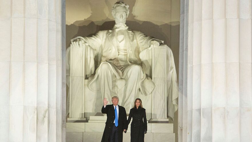 President-elect Donald J. Trump and his wife, Melania, arrive for the inaugural concert at the Lincoln Memorial.