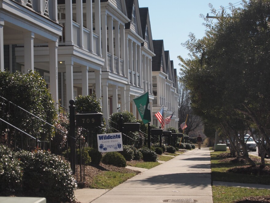 Houses, sidewalk, trees