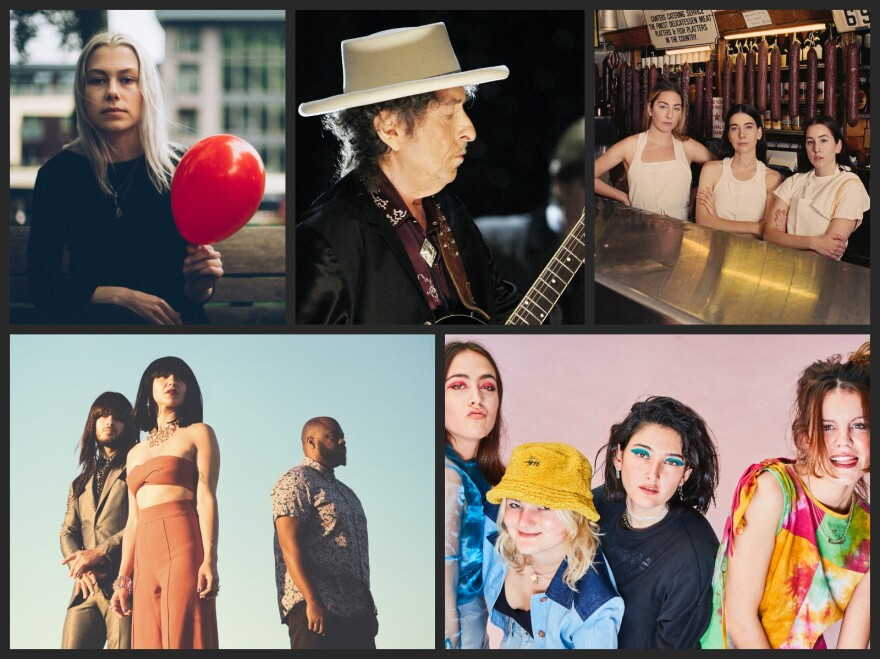 Clockwise from top left, Phoebe Bridgers, Bob Dylan, HAIM, Hinds, Khruangbin