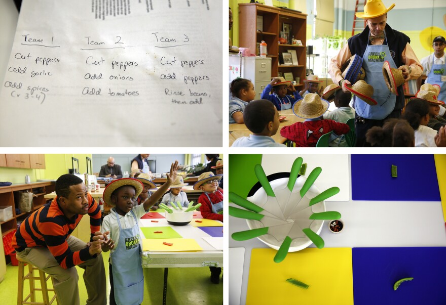 In the afternoon, Ritz hosts a fourth-grade cooking class. On the menu: vegetarian chili.