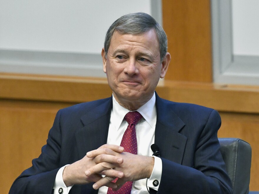 Chief Justice John Roberts prepares to speak at the University of Kentucky College of Law's judicial conference and speaker series in Lexington, Ky, on Feb. 1, 2017.
