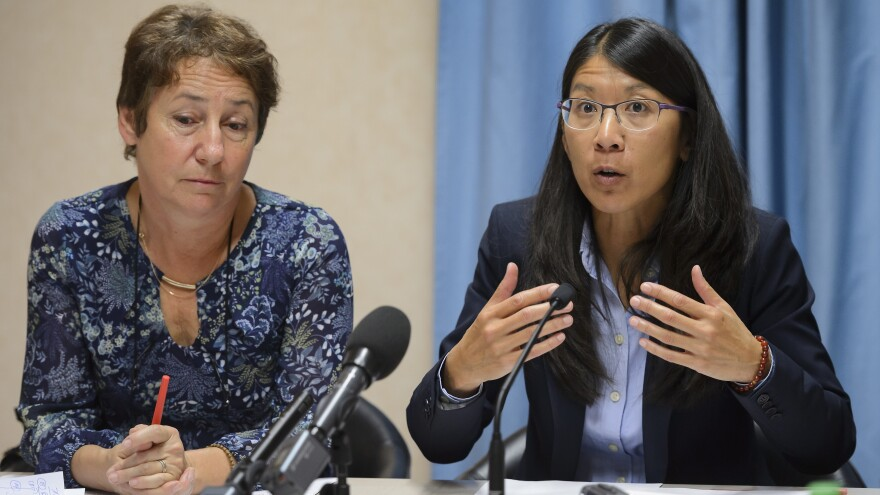 Doctors Without Borders President Joanne Liu (right) is calling for an international fact-finding investigation into a U.S. airstrike on one of the charity's hospitals.