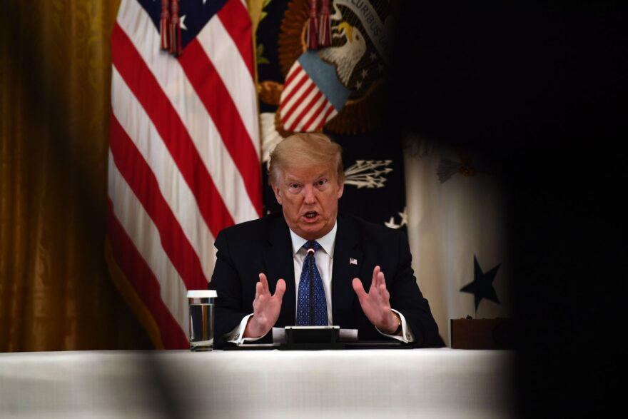 US President Donald Trump speaks during a meeting with his cabinet in the Cabinet Room of the White House in Washington, DC.