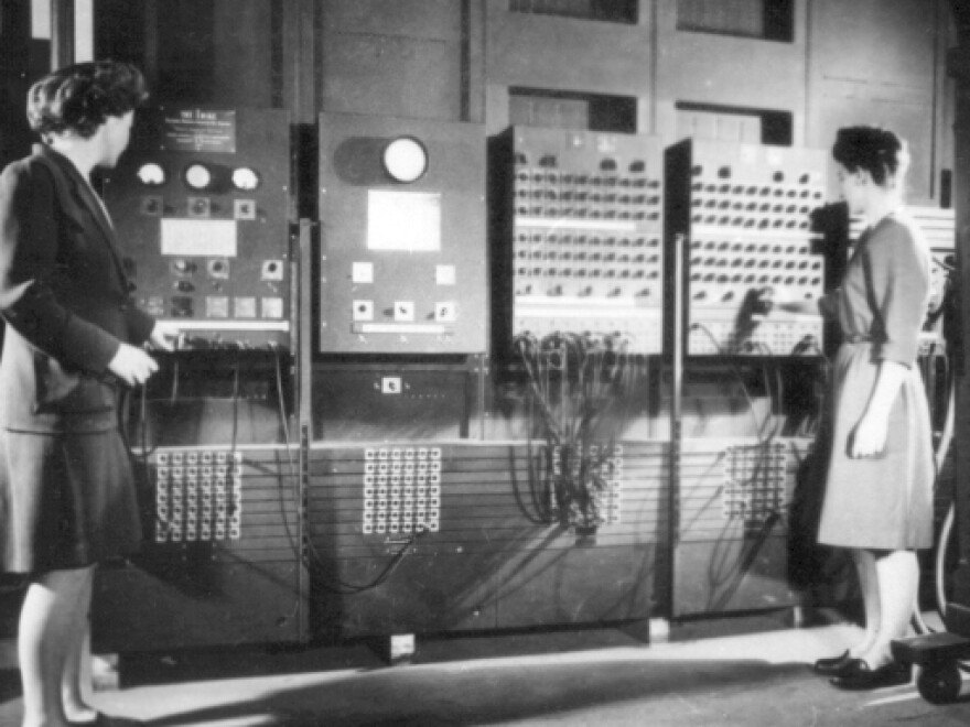 Female programmers inducted into the Women in Technologies Hall of Fame for their work on the ENIAC, an early computer built in 1946, work on the computer.