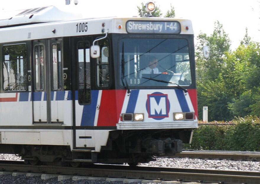 A MetroLink train