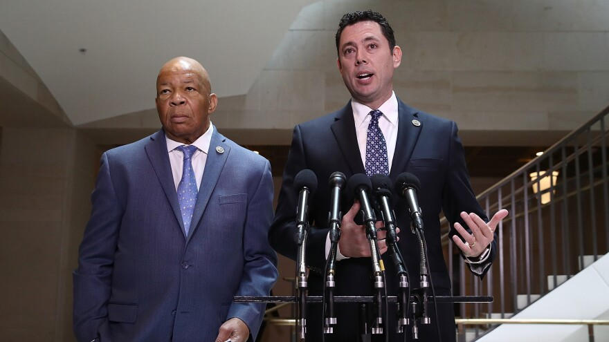 House Oversight Committee Chairman Jason Chaffetz, R-Utah (right), and ranking member Rep. Elijah Cummings, D-Md., speak to reporters about Michael Flynn, President Trump's former national security adviser, on Tuesday in Washington, D.C.