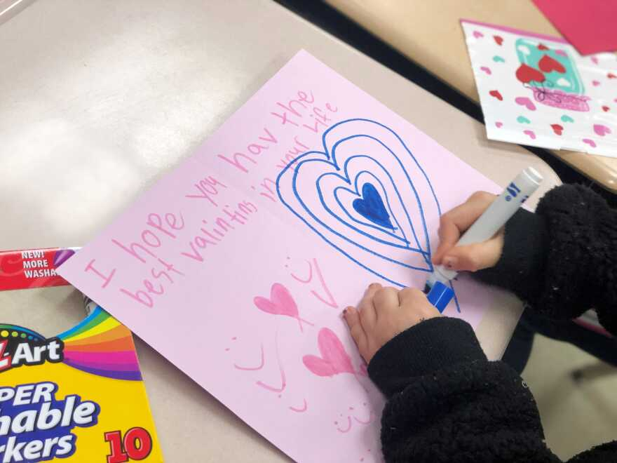 A handmade Valentine   s Day card created as part of a New Hopewell Elementary School service project. Feb. 12,
