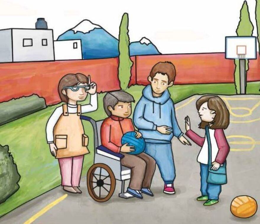 Example 5: A Mexican textbook shows boys (including one in a wheelchair) and girls playing basketball.