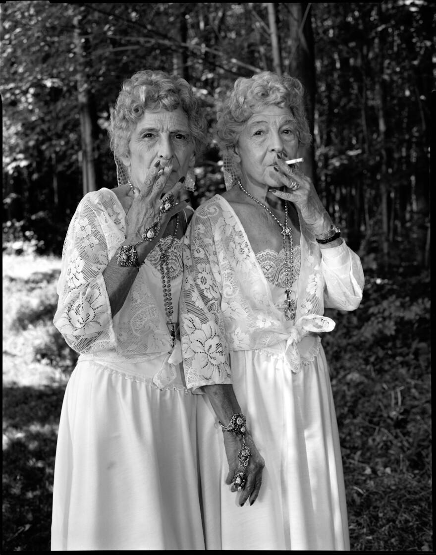 Sue Gallo Baugher and Faye Gallo at the Twins Festival. Twinsburg, Ohio, 1998.
