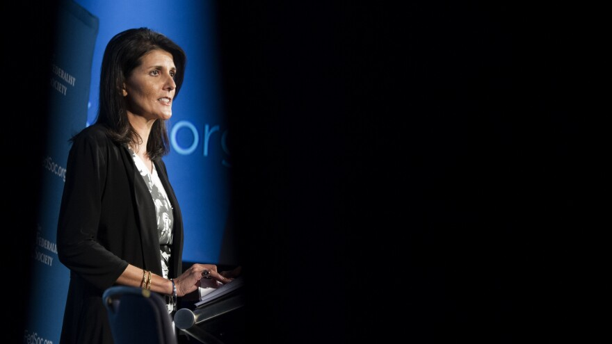 South Carolina Gov. Nikki Haley is seen through drapes while speaking at the Federalist Society's National Lawyers Convention on Nov. 18 in Washington, D.C.