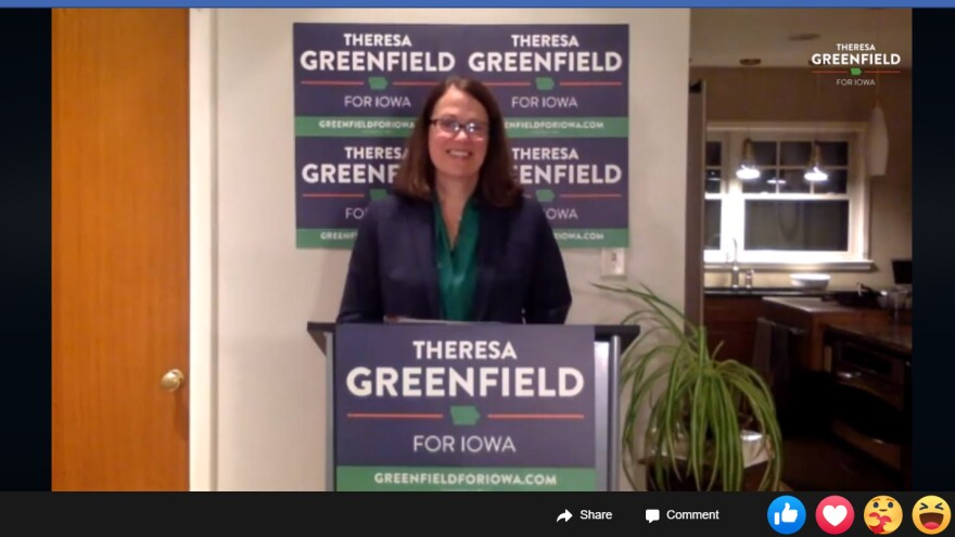 Theresa Greenfield gives a victory speech over Facebook Live after winning the Democratic nomination for the U.S. Senate.