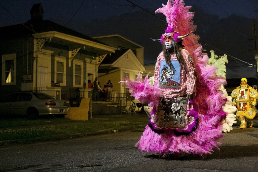 "Photographer L. Kasimu Harris says he ""didn't become a photographer until Katrina."" Above, he shows the funk band Bo Dollis Jr. and the Wild Magnolias as they prepare to ""mask"" for St. Joseph's Night."