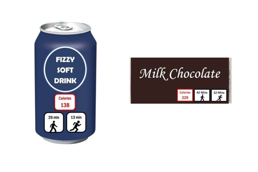 """This combination of images provided by Amanda Daley shows mockups of a soft drink can and a chocolate candy bar with labels for """"exercise calories,"""" or the amount of physical activity needed to burn them off."""