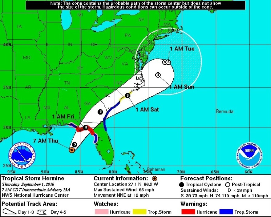 Hermine is expected to strengthen into a hurricane before making landfall north of Tampa, likely early Friday.