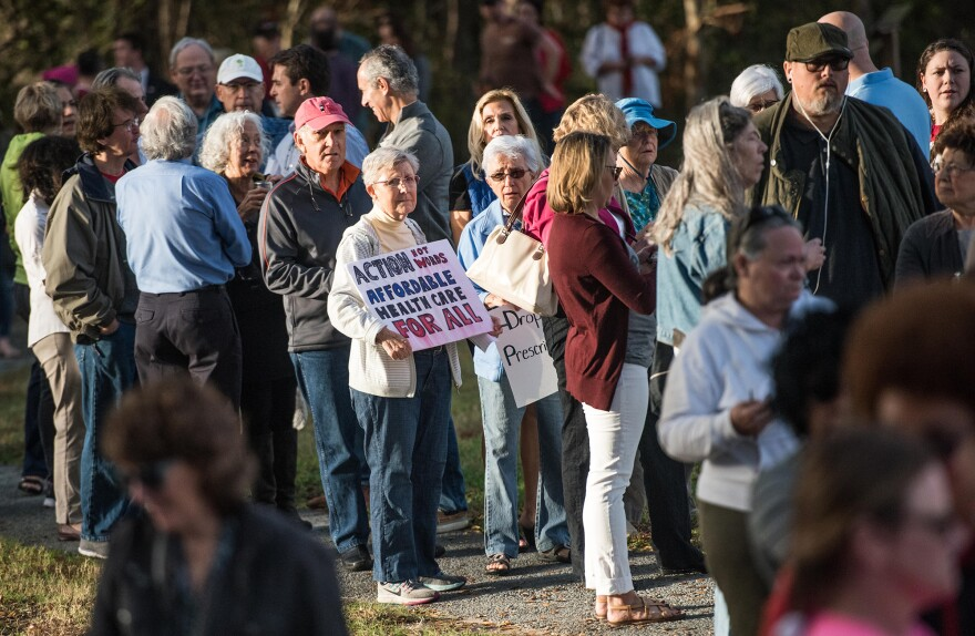 People are talking about the ACA at town hall meetings around the nation, like this one with Republican Sen. Tim Scott of South Carolina last month.