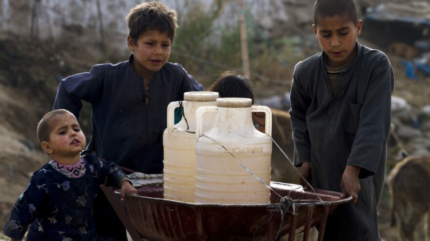 Pakistani boys collect water from a hand pump on the outskirts of Islamabad.