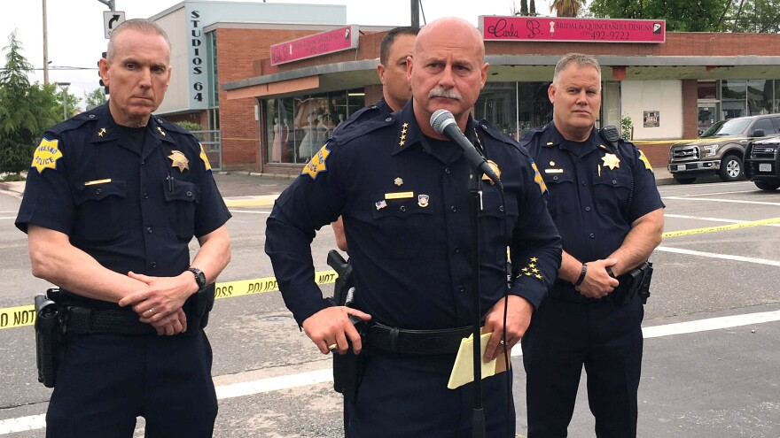 Police chief Jerry Dyer briefs reporters in Fresno, Calif., after shootings on Tuesday. Kori Ali Muhammad is accused of killing three people on the streets of downtown Fresno.
