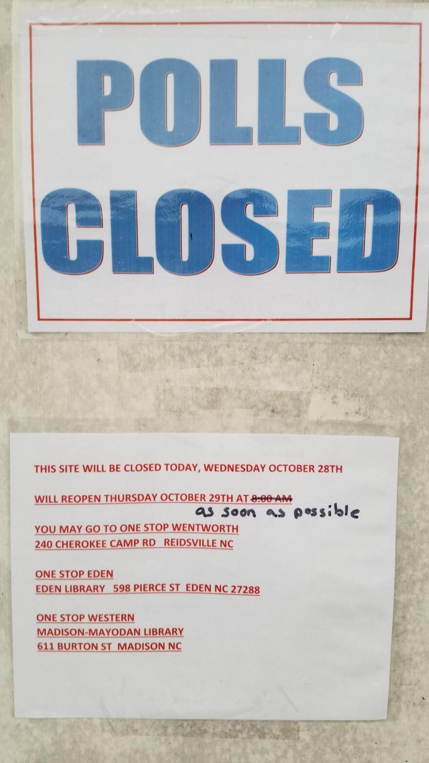 A sign posted on a Reidsville early-voting site.
