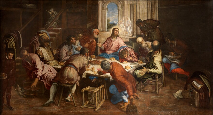 Tintoretto's<em> The Last Supper</em> imagines the apostles' reactions when Christ says one of them will betray him. The oil on canvas was painted circa 1563/1564.