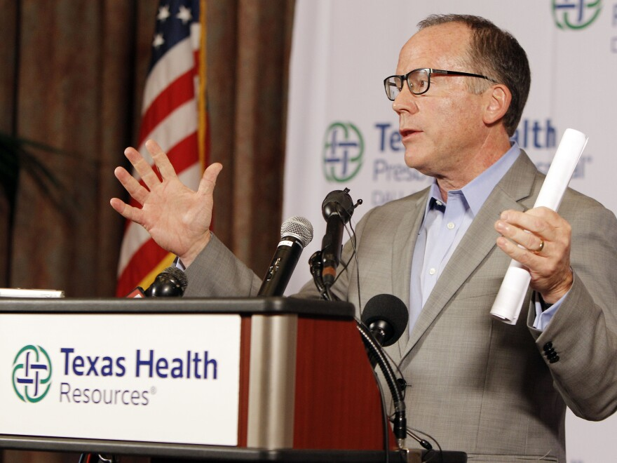 During a news conference on Sunday, Texas Health Presbyterian Hospital Chief Clinical Officer Dr. Daniel Varga answers questions about a health care worker who now has Ebola after providing care for Thomas Eric Duncan. Varga is expected to testify before a House panel looking into Ebola response.