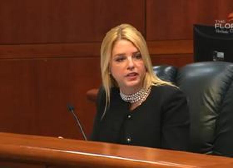 Attorney General Pam Bondi speaking about human trafficking during a recent Cabinet meeting.
