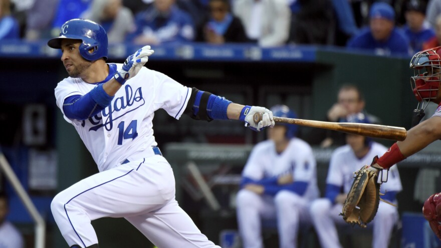 Kansas City Royals' Omar Infante hits an RBI single in the second inning during a game last month against the Cincinnati Reds.
