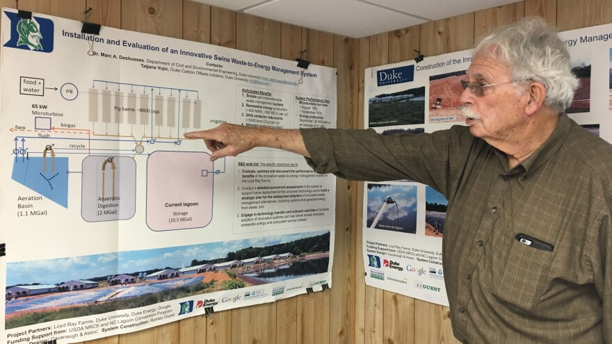 Marvin Cavanaugh, owner of the engineering firm Cavanaugh, explains the process for turning hog waste into electricity.