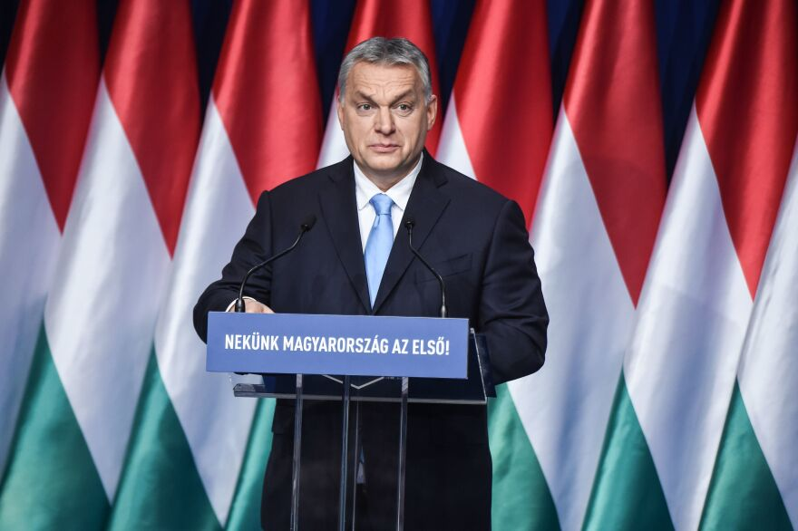 Hungarian Prime Minister Viktor Orban delivers his state of the nation speech in front of his party members and sympathizers at a cultural center in Budapest, Hungary, on Feb. 10.