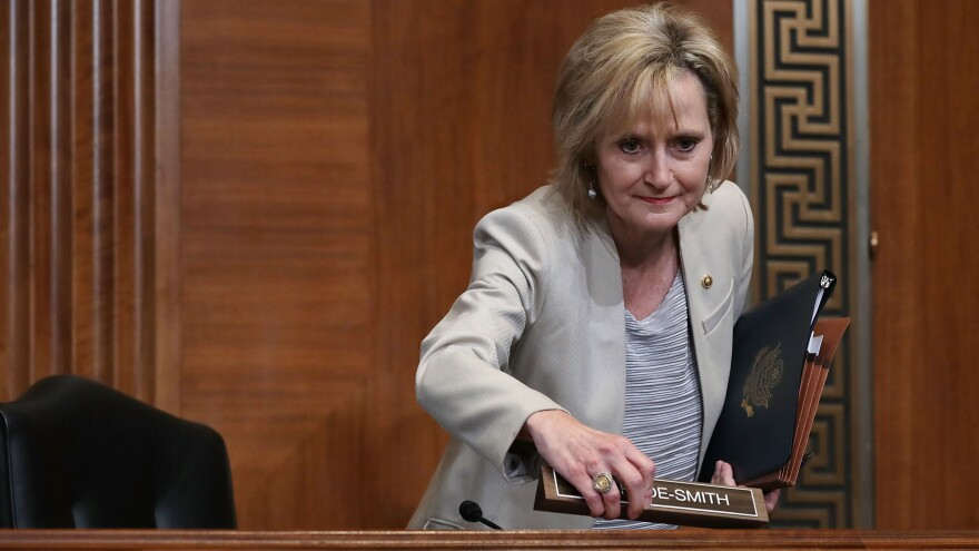 "Sen. Cindy Hyde-Smith, R-Miss., at a Senate hearing in May. She is under sharp criticism for her comments about a ""public hanging"" in a state with a dark history of lynchings."