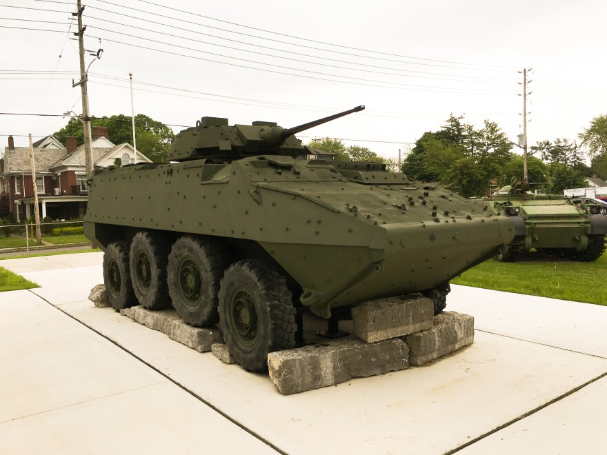 A light armored vehicle is part of a new monument at the Royal Canadian Regiment Museum in London, Ontario. General Dynamics Land Systems-Canada is producing hundreds of LAVs for sale to Saudi Arabia.