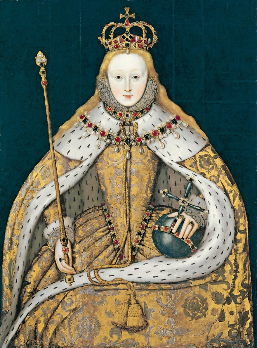 """This portrait of Queen Elizabeth I (painted circa 1600 by an unknown artist) mimics <a href=""""http://www.westminster-abbey.org/our-history/royals/richard-ii-and-anne-of-bohemia"""">an earlier portrait of King Richard II</a>. Schama says the queen """"knew what power lay with the royal stare. But she also knew that image was not everything."""""""