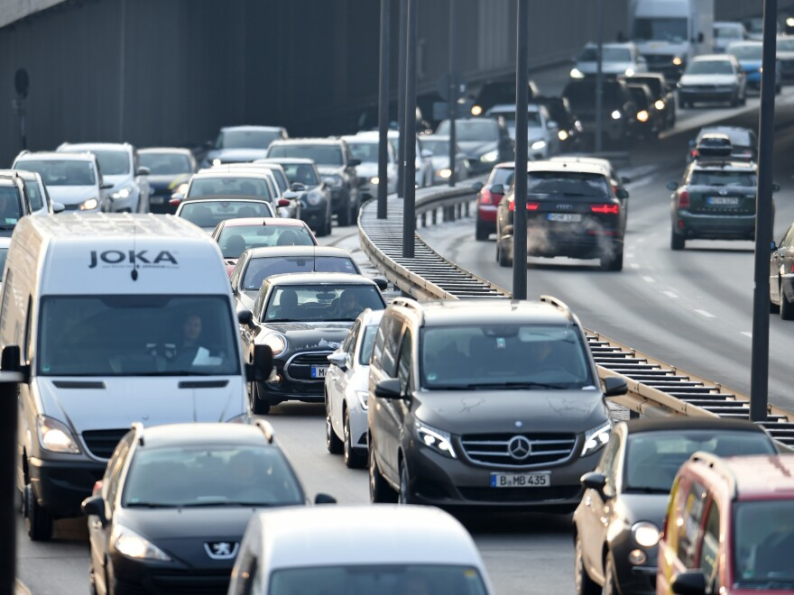 Cars drive along Mittlerer Ring in Munich. Germany's highest court has ruled that cities may impose bans or partial bans on diesel cars in order to bring down emissions levels.