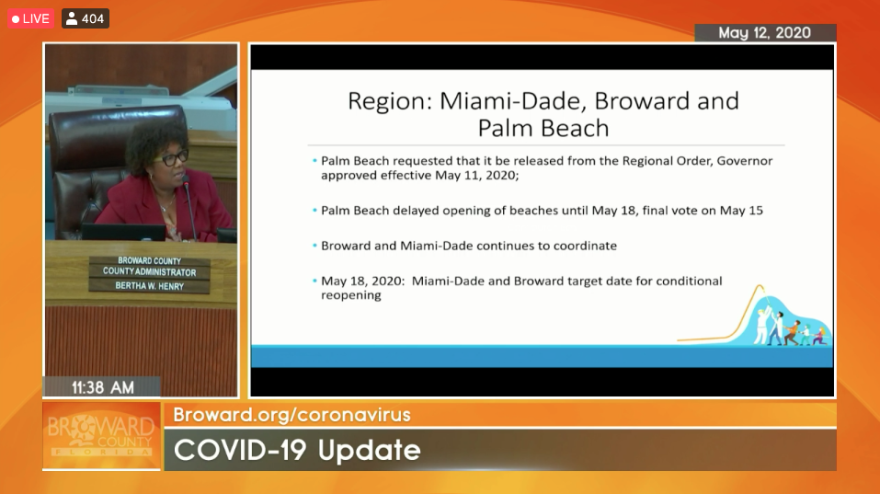 Broward County Administrator Bertha Henry gives a presentation on reopening South Florida to county commissioners during an online workshop on Tuesday May 12.