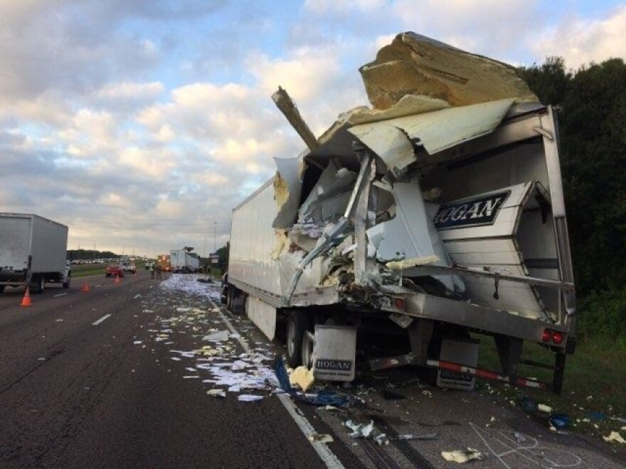 The crash caused mail to spill onto I-75 in Hillsborough County, tying up traffic for hours. FLORIDA HIGHWAY PATROL
