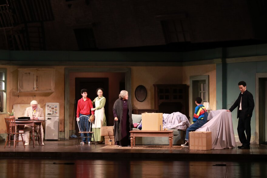 The cast of the Beijing People's Art Theatre production of <em>A Raisin in the Sun</em> rehearse onstage this past August.