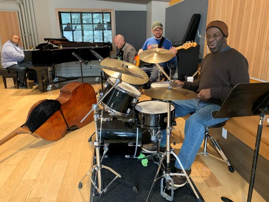 Drummer Montez Coleman, bassist Bob DeBoo, guitarist Travis Lewis and pianist Adaron 'Pops' Jackson dig into a groove from 'Bitches Brew,' the classic Miles Davis album.