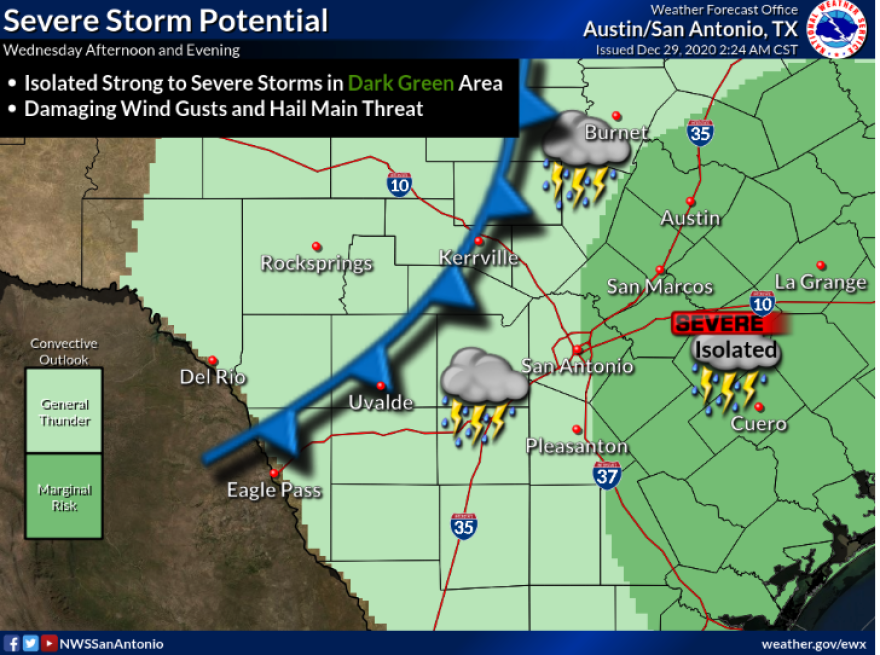 A cold front will bring rain and potentially severe storms to Central Texas on Wednesday, according to the National Weather Service.