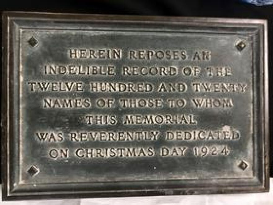 The bronze plaque that covered the box and scroll unearthed at Memorial Park on Thursday.